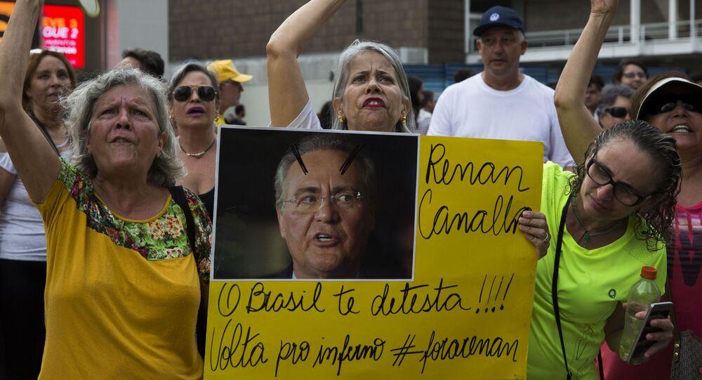 Vem Pra Rua e outras entidades convocam protesto contra a candidatura de Renan Calheiros à presidência do Senado Federal, na Avenida Paulista, São Paulo, 20 de janeiro de 2019