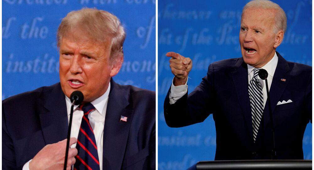 Foto combinada mostra o presidente norte-americano Donald Trump e o candidato presidencial democrata Joe Biden falando durante o primeiro debate da campanha presidencial de 2020, realizado no campus da Clínica de Cleveland na Universidade Case Western Reserve em Cleveland, Ohio, EUA, 29 de setembro de 2020