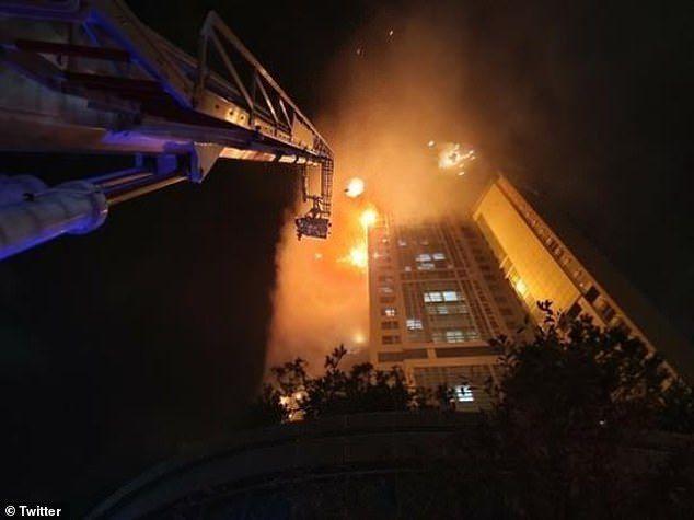 Incêndio atinge arranha-céu de mais de 30 andares na Coreia do Sul.