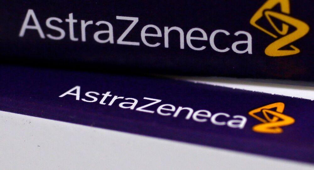 Logo da companhia farmacêutica britânica AstraZeneca (arquivo)