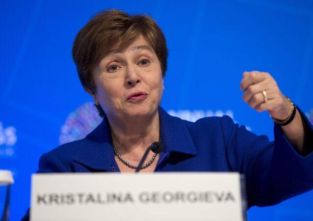 A chefe do Fundo Monetário Internacional (FMI), Kristalina Georgieva, durante pronunciamento.