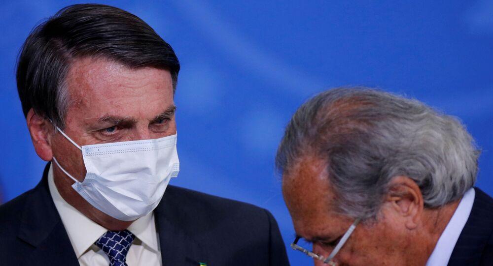 Presidente Jair Bolsonaro e o ministro da Economia, Paulo Guedes