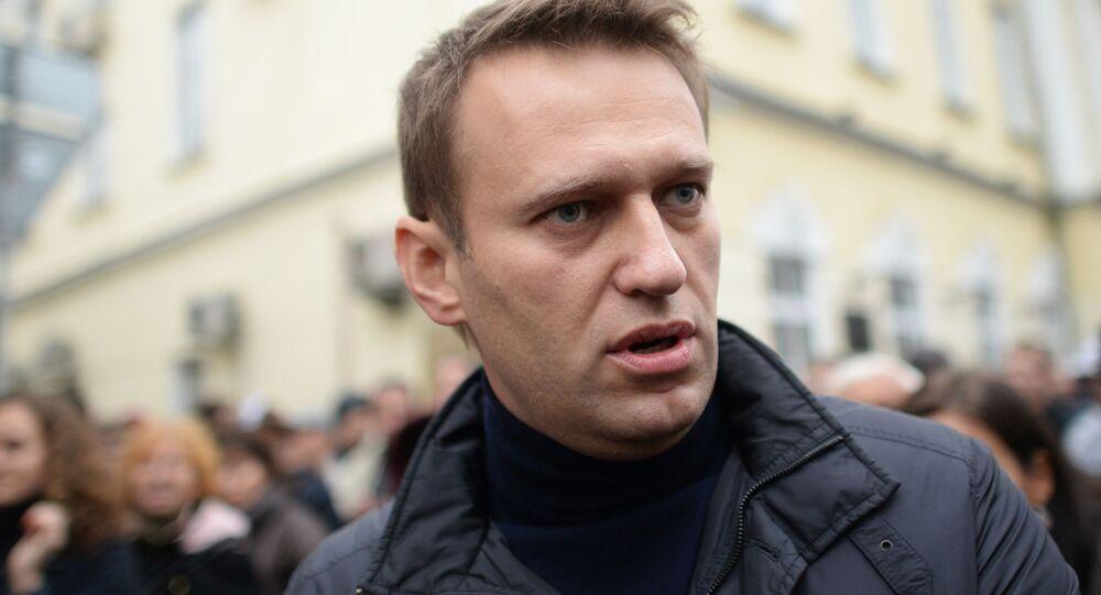Opositor russo Aleksei Navalny durante manifestação
