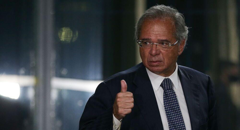 Ministro da Economia, Paulo Guedes, durante coletiva de imprensa em Brasília