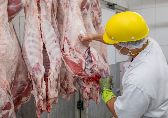 Funcionários trabalham no corte e processamento de carnes em frigorífico na cidade de Pirassununga