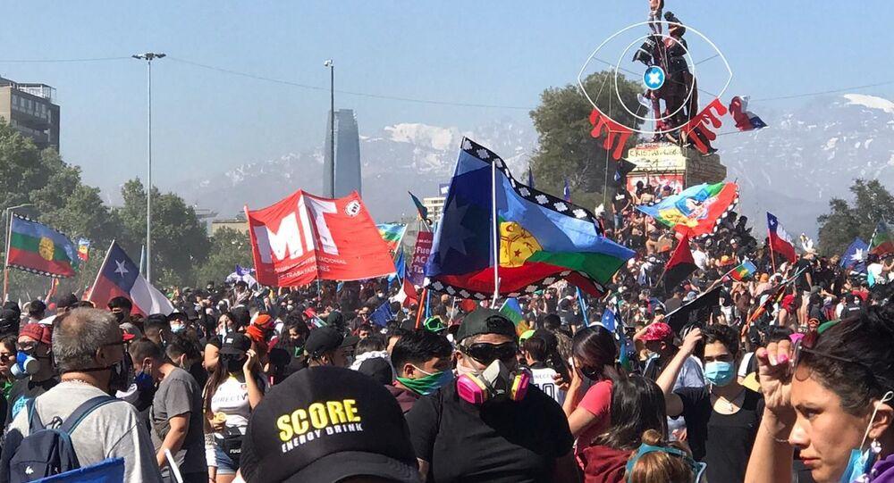 MManifestação em Santiago, no Chile, em 2019
