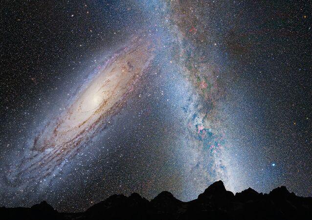 Ilustração da colisão entre a Via Láctea e Andrômeda
