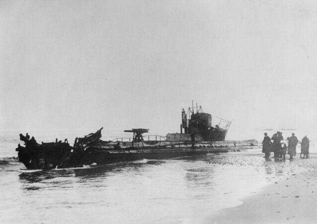 Submarino U-20 na costa dinamarquesa em 1916