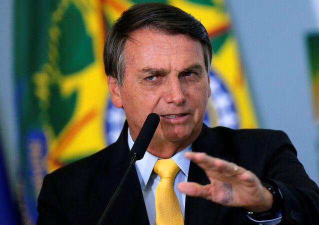 Presidente do Brasil, Jair Bolsonaro durante cerimônia no Palácio do Planalto, Brasília, 19 de outubro de 2020