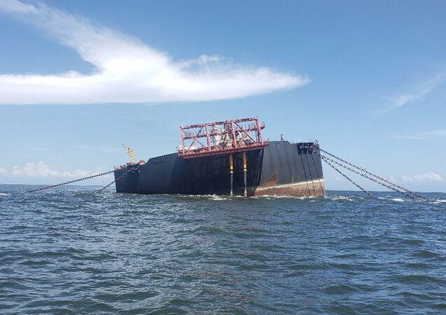 Unidade flutuante Nabarima operada por uma joint venture entre a PDVSA, através da Petrosucre, e da italiana Eni SpA no golfo de Paria, entre a Venezuela e Trinidad e Tobago, 16 de outubro de 2020