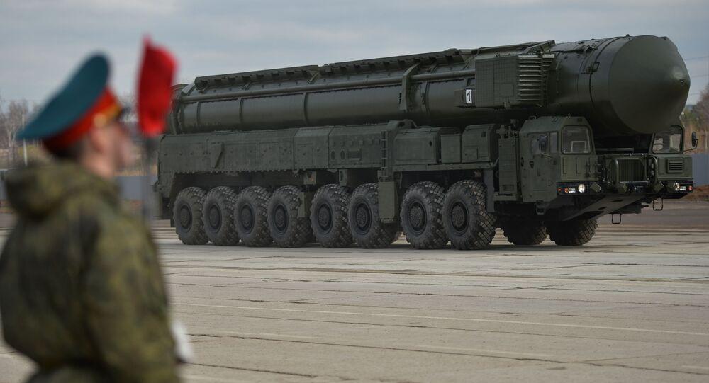 Míssil balístico intercontinental Yars durante ensaio para parada militar em Moscou (foto de arquivo)