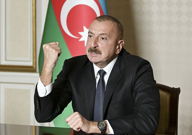 Ilham Aliev, presidente do Azerbaijão, faz discurso à nação em Baku, Azerbaijão, 20 de outubro de 2020