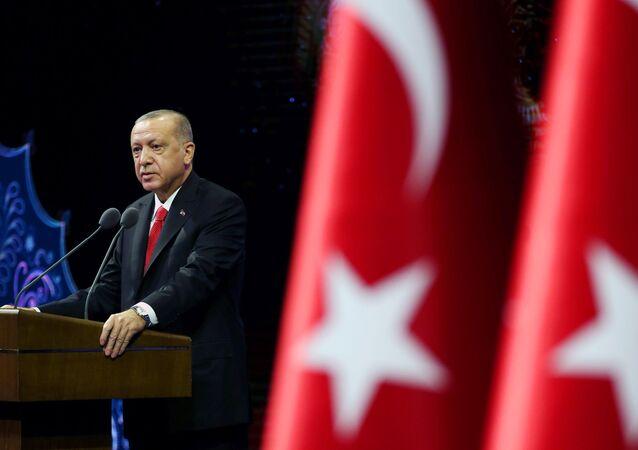 Presidente da Turquia, Recep Tayyip Erdogan discursa em Ancara, Turquia, 26 de outubro de 2020