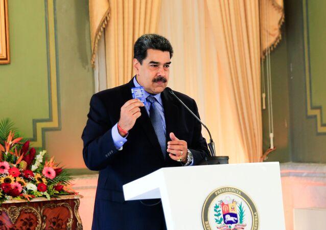 Presidente da Venezuela, Nicolás Maduro, realiza uma coletiva de imprensa virtual em Caracas, Venezuela, 28 de outubro de 2020