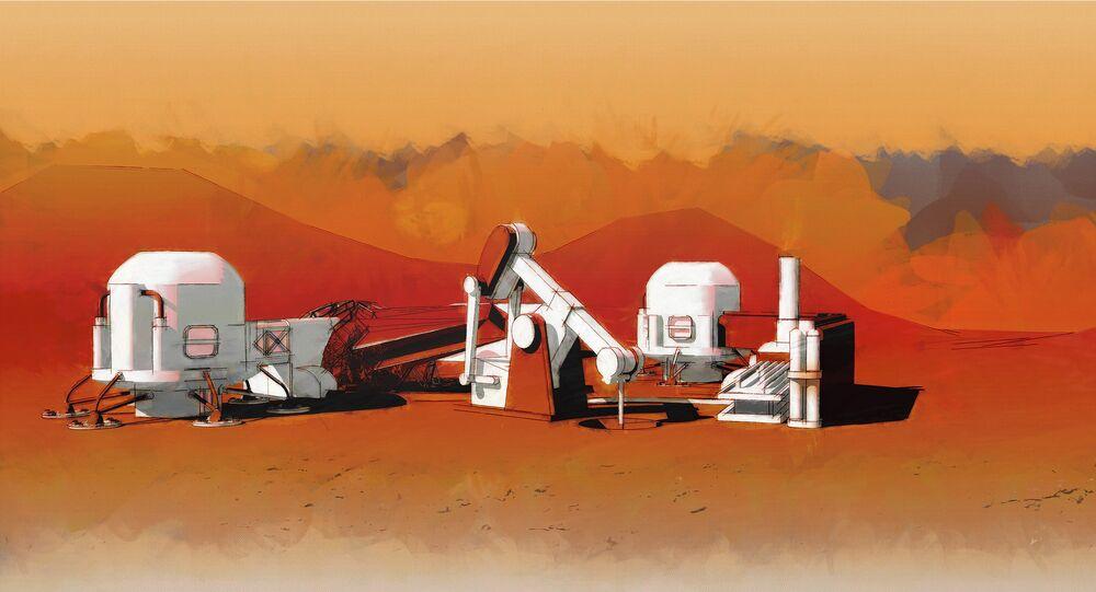 Representação gráfica da colonização de Marte