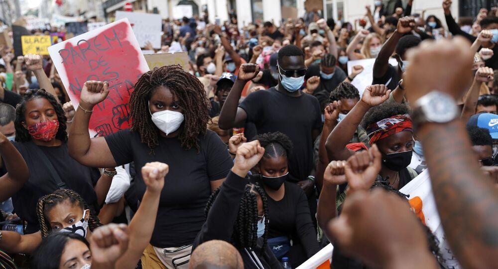 Protesto contra racismo em Lisboa, Portugal, 6 de junho de 2020