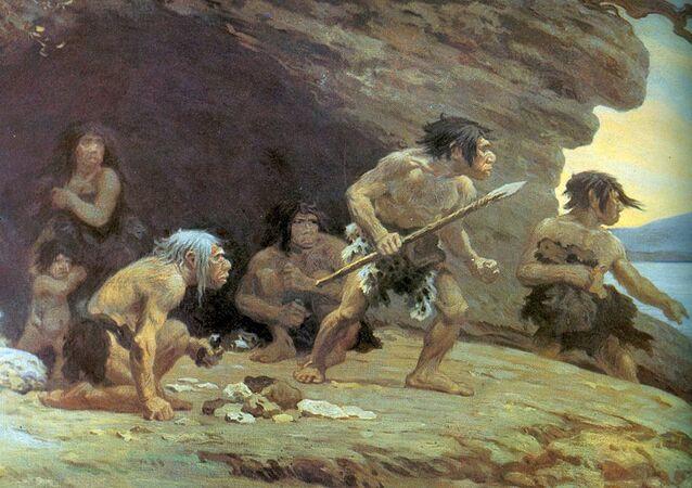 Pintura de neandertais feita pelo artista Charles R. Knightb
