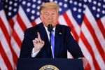O presidente dos Estados Unidos, Donald Trump, fala em comício na Casa Branca.