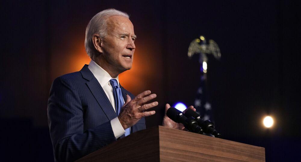 Joe Biden, candidato democrata à presidência dos EUA, discursa na cidade de Wilmington
