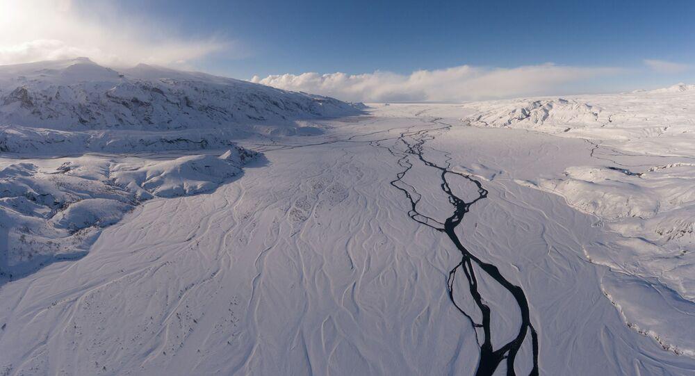 Lago glacial na Islândia
