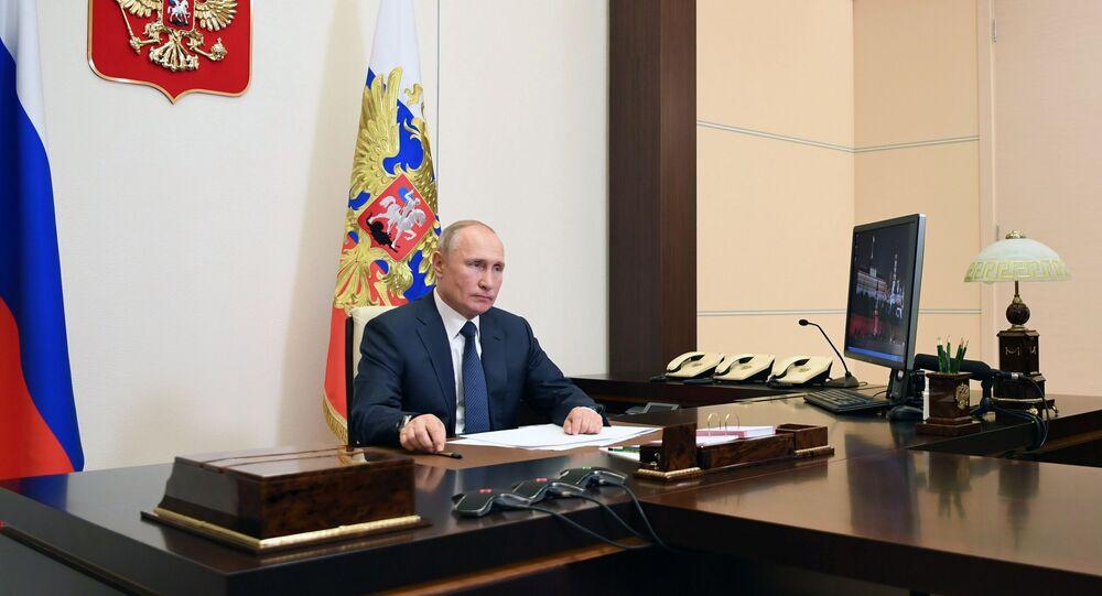 Presidente russo, Vladimir Putin, durante anúncio de cessar-fogo em Nagorno-Karabakh, 9 de novembro de 2020