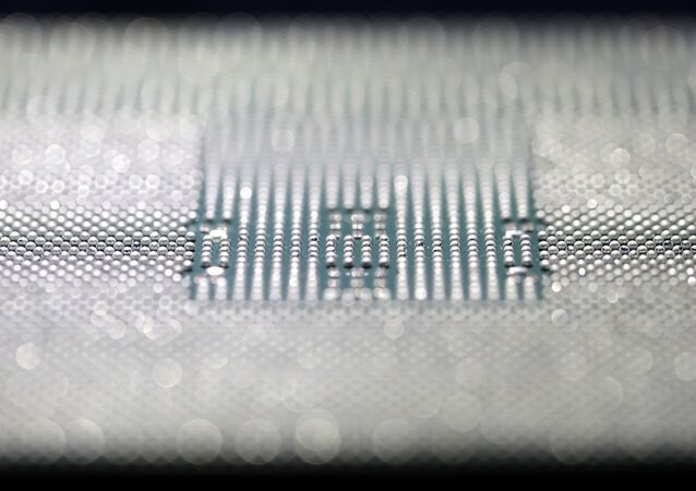 Chip Kunpeng 920 é exibido durante cerimônia de inauguração em Shenzhen, China, 7 de janeiro de 2019.