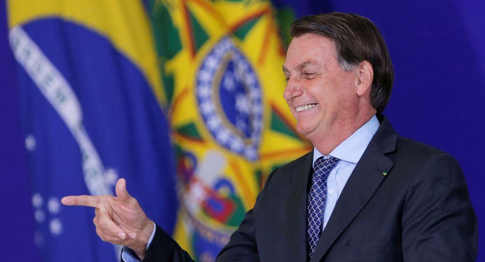 O presidente Jair Bolsonaro durante cerimônia no Palácio do Planalto.
