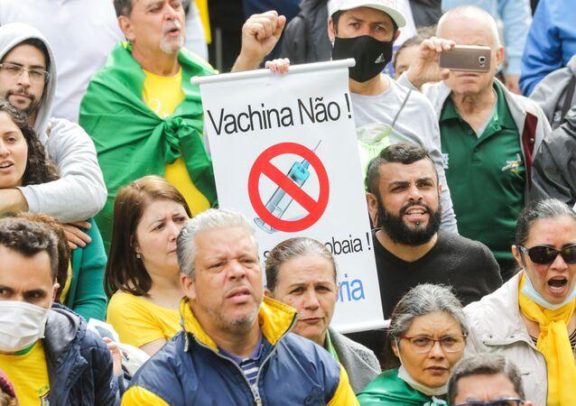 Simpatizantes do presidente Jair Bolsonaro realizam ato contra a vacina chinesa CoronaVac e contra o governador João Doria em São Paulo