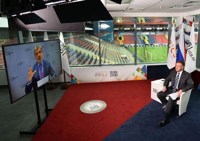 Presidente do Novo Banco de Desenvolvimento, conhecido como Banco do BRICS, Marcos Troyjo, discursa durante encontro promovido pela presidência da Rússia do bloco, em 16 de novembro de 2020