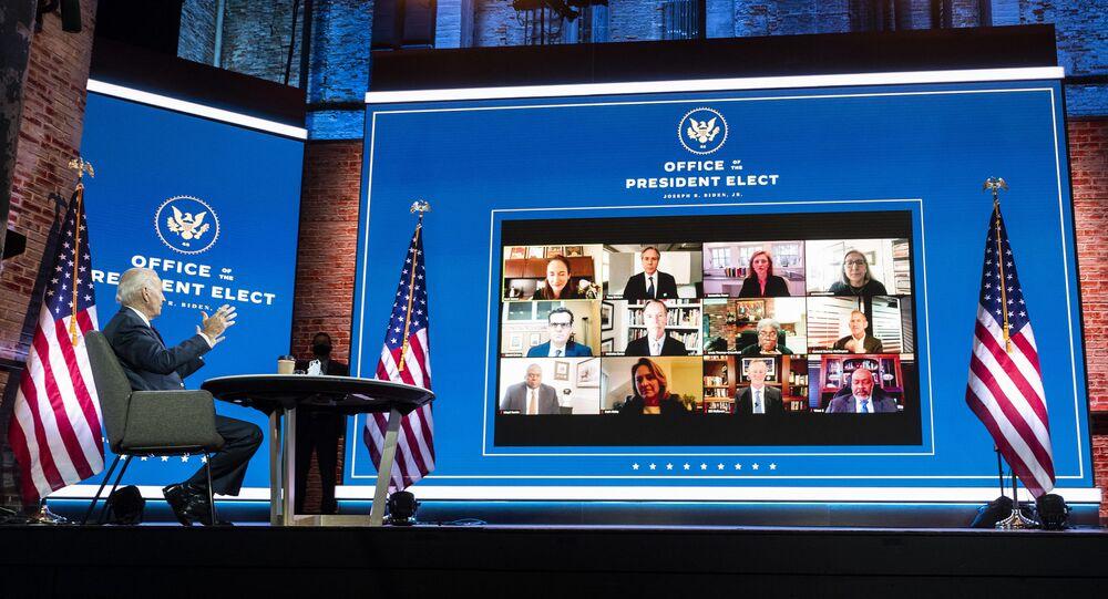 Joe Biden, presidente eleito dos EUA, coordena reunião de gabinete de transição em Wilmington, Delaware, em 17 de novembro de 2020
