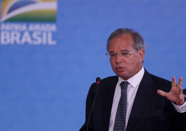 Ministro da Economia, Paulo Guedes, durante cerimônia em Brasília.