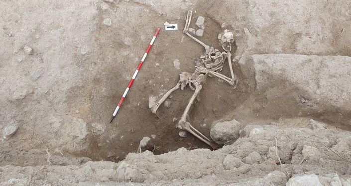 Esqueleto do século XIV encontrado no castelo de Guardamar, Espanha