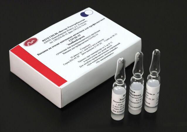 Vacina contra o novo coronavírus desenvolvida pelo Centro Estatal de Pesquisa de Virologia e Biotecnologia Vektor, localizado em Novossibirsk, na Rússia