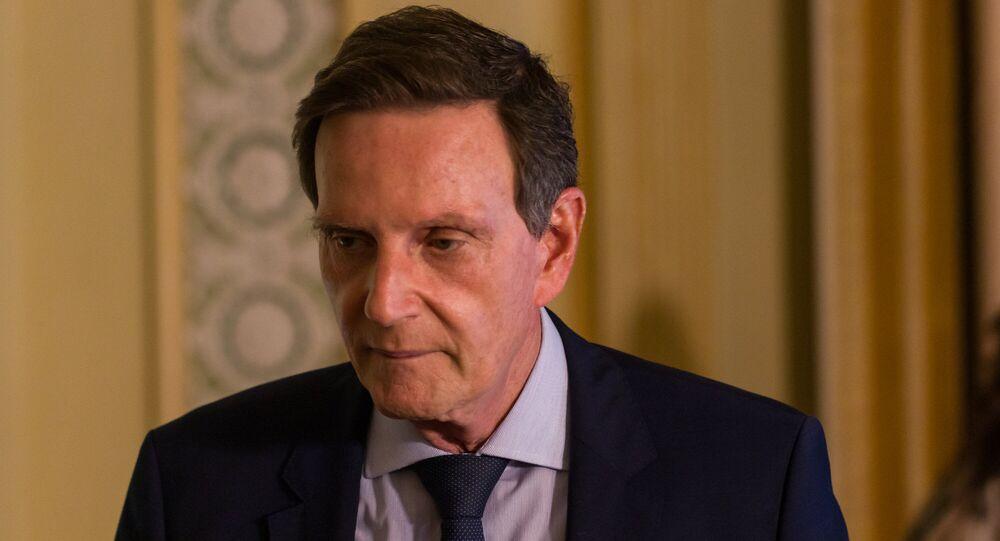 Prefeito Marcelo Crivella concede entrevista coletiva no Palácio da Cidade, em Botafogo, zona sul do Rio de Janeiro, para apresentar a nova fase de flexibilização das medidas contra o novo coronavírus, chamada de Fase Conservadora