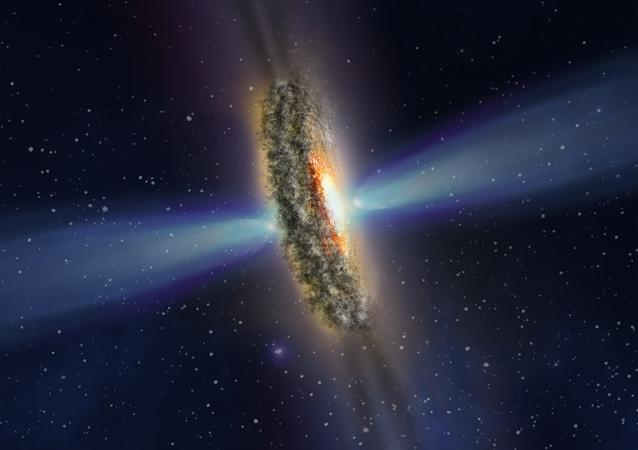 Projeção de luzes e sombra do centro da galáxia IC 5063 (imagem referencial)
