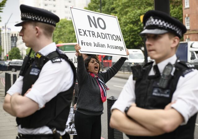 Participante de ação de apoio a Julian Assange, fundador do WikiLeaks, em Londres, Reino Unido