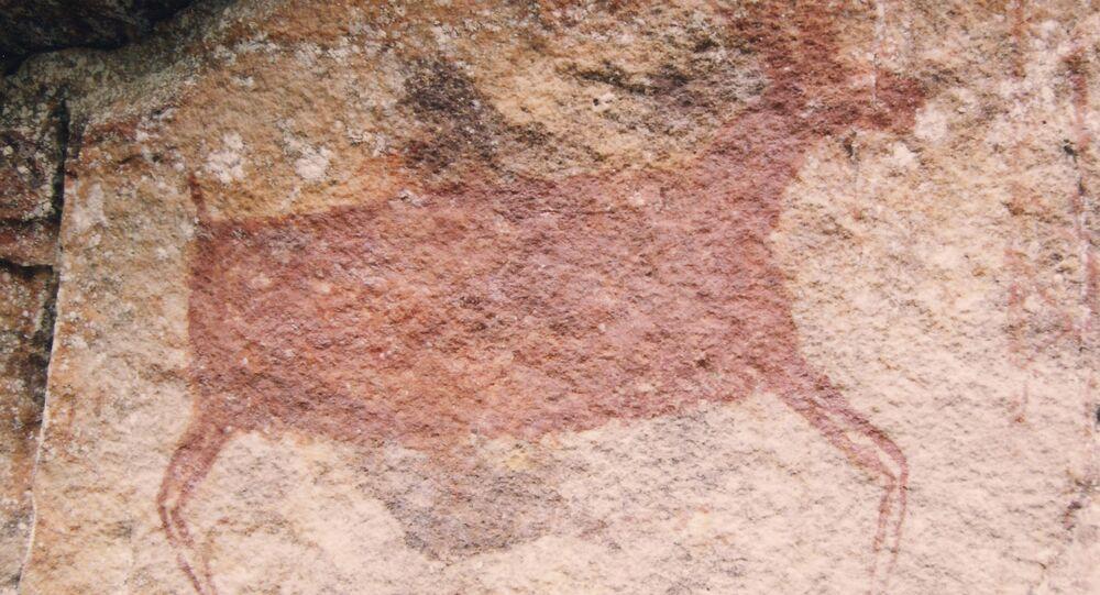 Pintura rupestre no Parque Nacional Chiribiquete, Colômbia