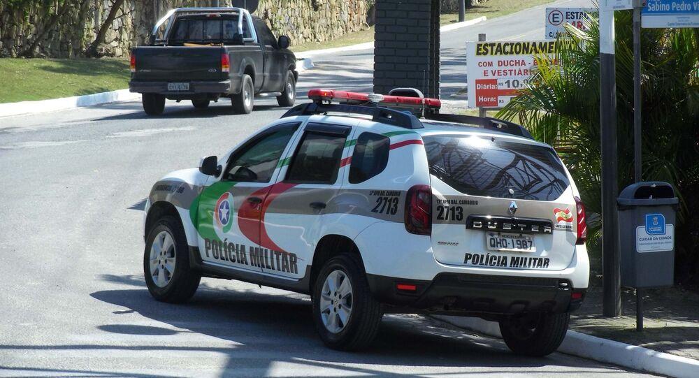 Viatura da polícia militar na praia das Laranjeiras, em Balneário Camboriú (SC)