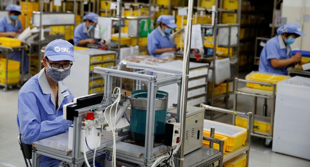 Fábrica de componentes em Pequim, na China.