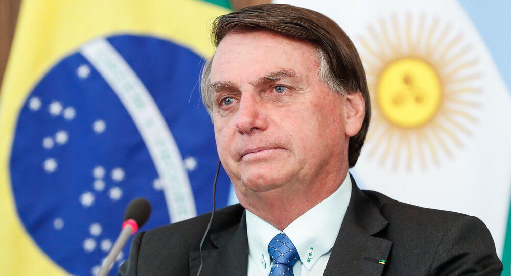 Presidente Jair Bolsonaro durante videoconferência com o Presidente da Argentina, Alberto Fernández, no dia 30 de novembro de 2020