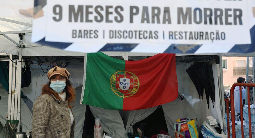 Donos de bares e restaurantes em Portugal fazem greve de fome contra a as medidas impostas para combater a pandemia de COVID-19. Foto de 1º de dezembro de 2020