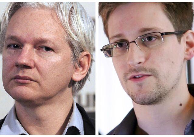 O fundador do WikiLeaks, Julian Assange, e o ex-agente da inteligência americana Edward Snowden