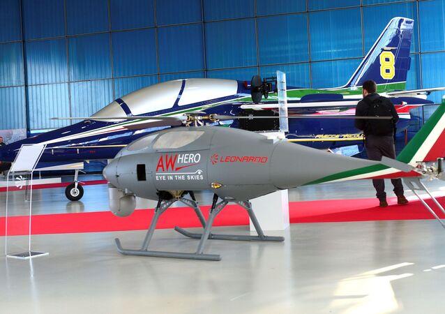 Drone AWHero da empresa aeronáutica Leonardo na sede em Vergiate, perto de Milão, Itália, 30 de janeiro de 2018