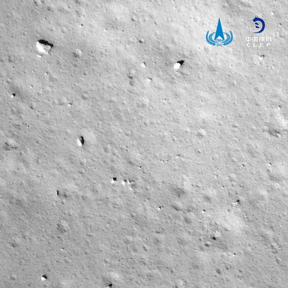 Imagem tirada pela espaçonave chinesa Chang'e-5 durante seu pouso na Lua