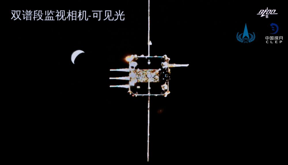 Sonda Chang'e-5 é vista a partir da combinação orbitador-retornador