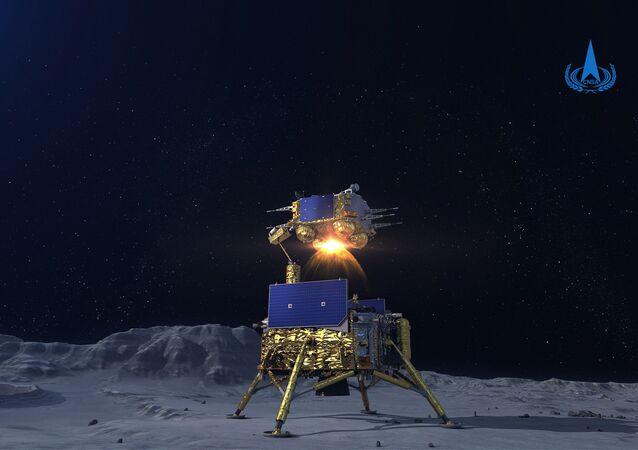 Simulação da sonda Chang'e-5 decolando da superfície lunar