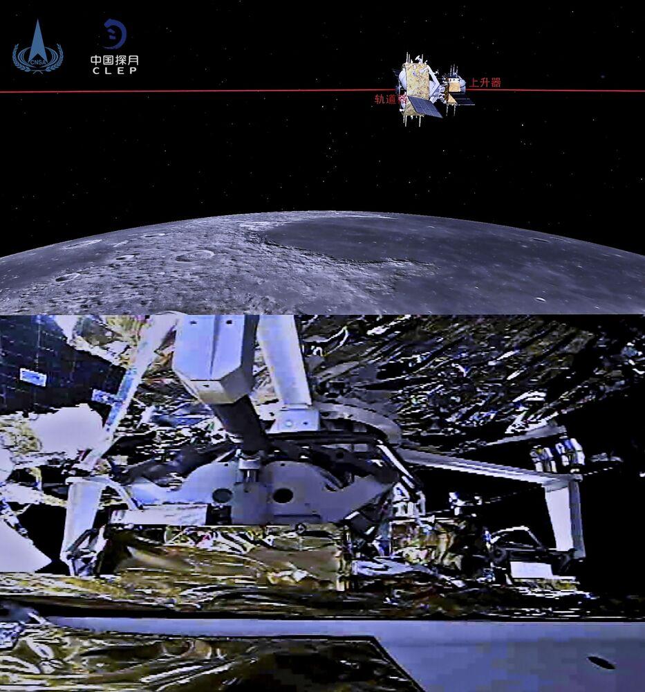 Combinação de duas imagens: uma ilustração (em cima) e uma foto (em baixo) do ascendente da sonda lunar Chang'e-5 da China completando o encontro e acoplamento com a combinação orbitador-retornador