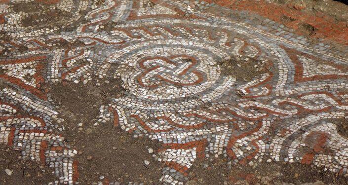 Um detalhe do mosaico do século V