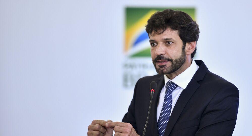 Ministro do Turismo, Marcelo Álvaro Antônio, durante cerimônia no Palácio do Planalto, em Brasília