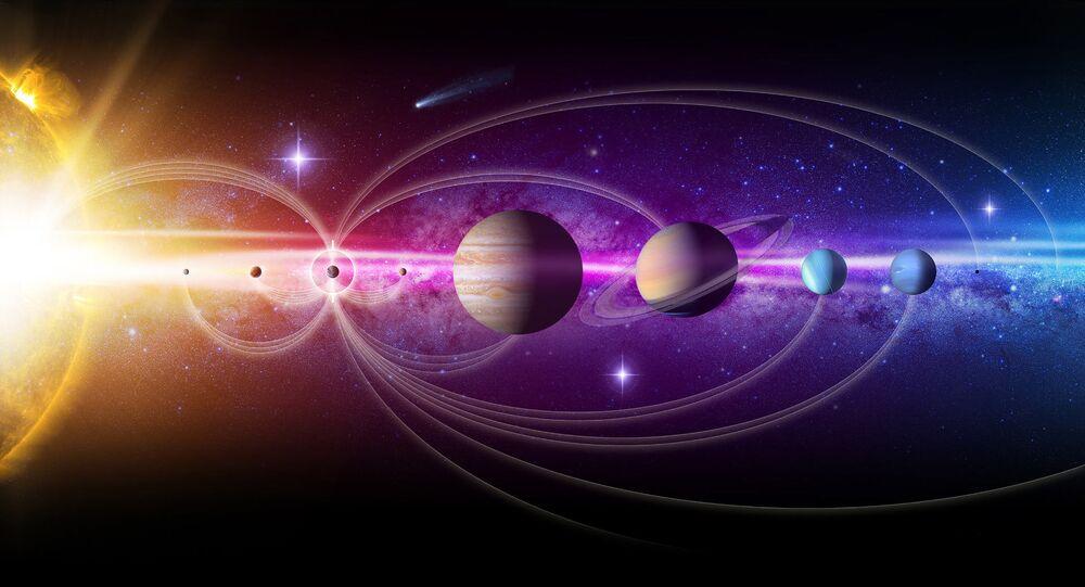 Representação artística do Sistema Solar